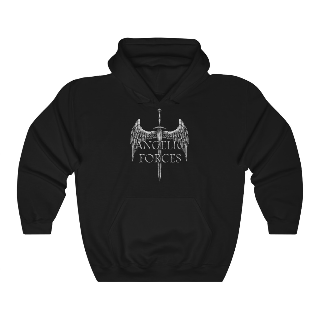 Angelic Forces Sword and Wing Pullover Hooded Sweatshirt