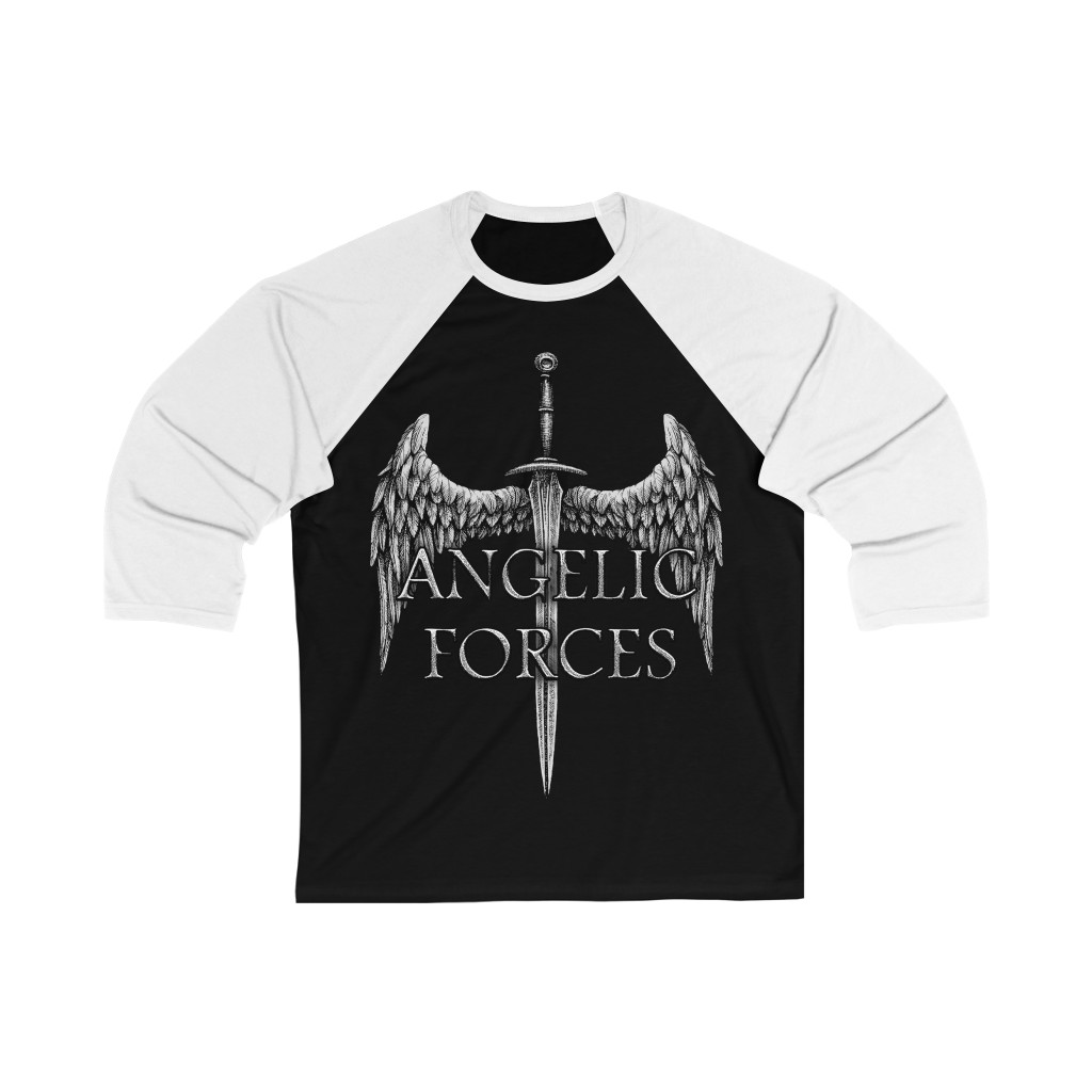Angelic Forces Sword and Wing 3/4 Sleeve Baseball Tee
